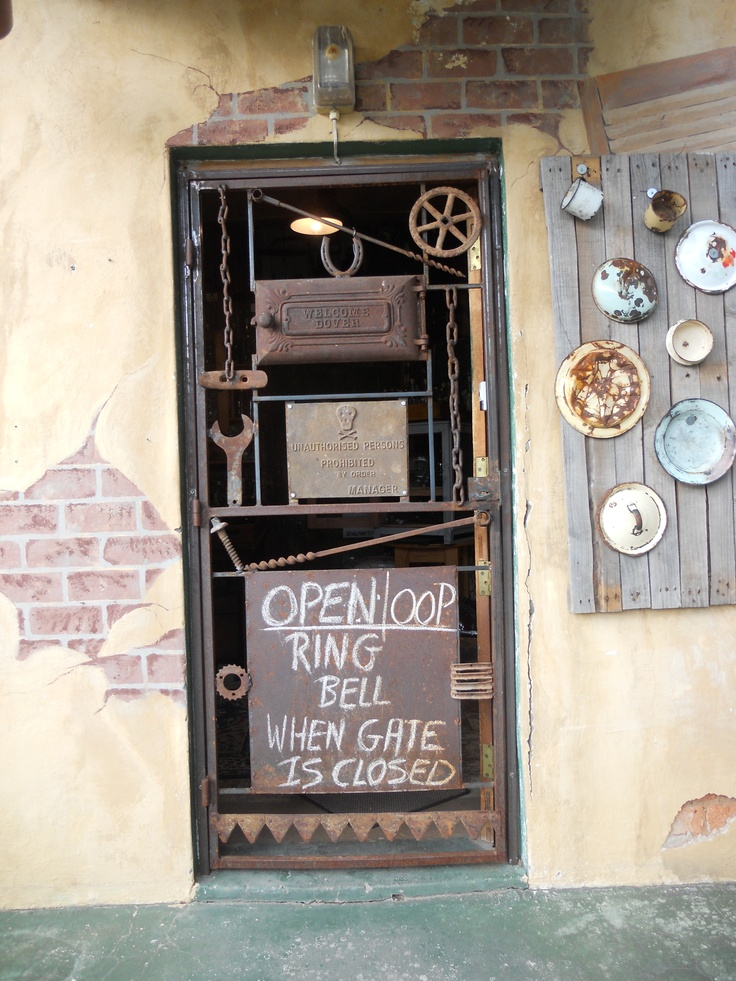 Unusual iron gate at a shop in De Rust, South Africa