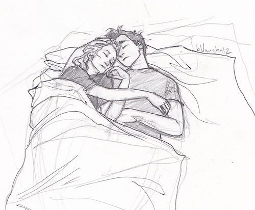 art, bed, black and white, couple, cuddle, drawing, love, sleep