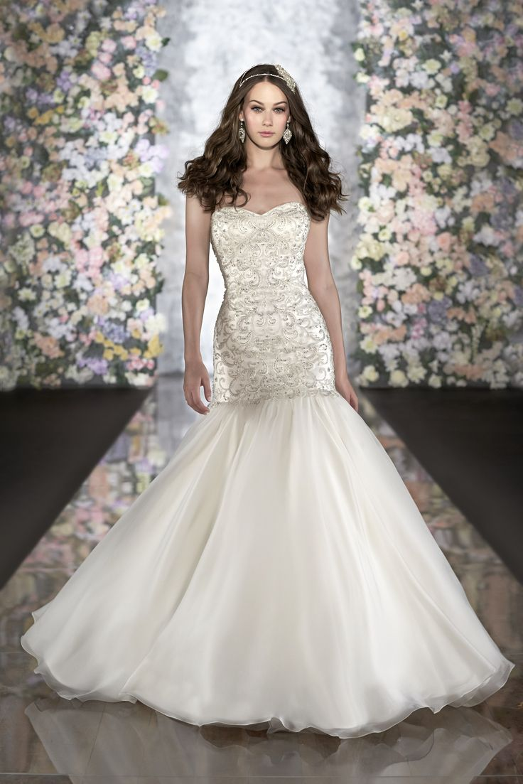 Fit And Flare Wedding Gown Features Swirls Of Diamante Crystals From Martina Liana Style