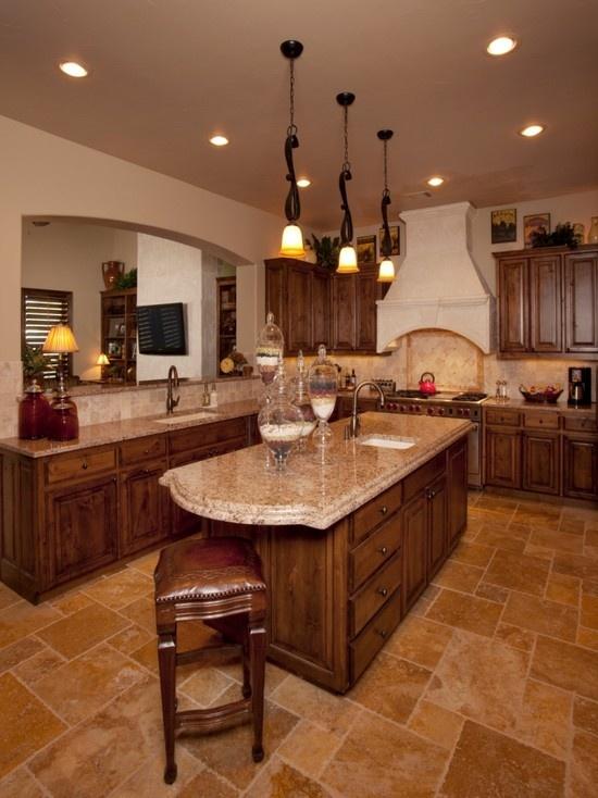Mediterranean Kitchen   Dark Floor, Lighter Counter Top