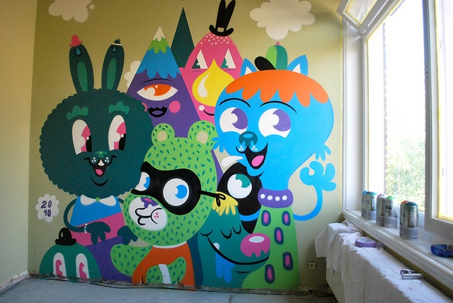 fun kids room mural by Bue The Warrior!  Not really houseware, but I want my kid to grow up with this kind of art.
