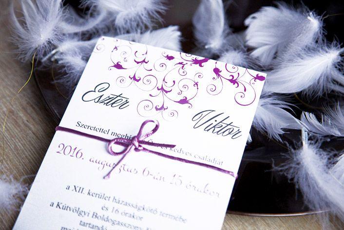 Classic Wedding Invitation, Invitation with satin ribbon, Pink Wedding Invitation