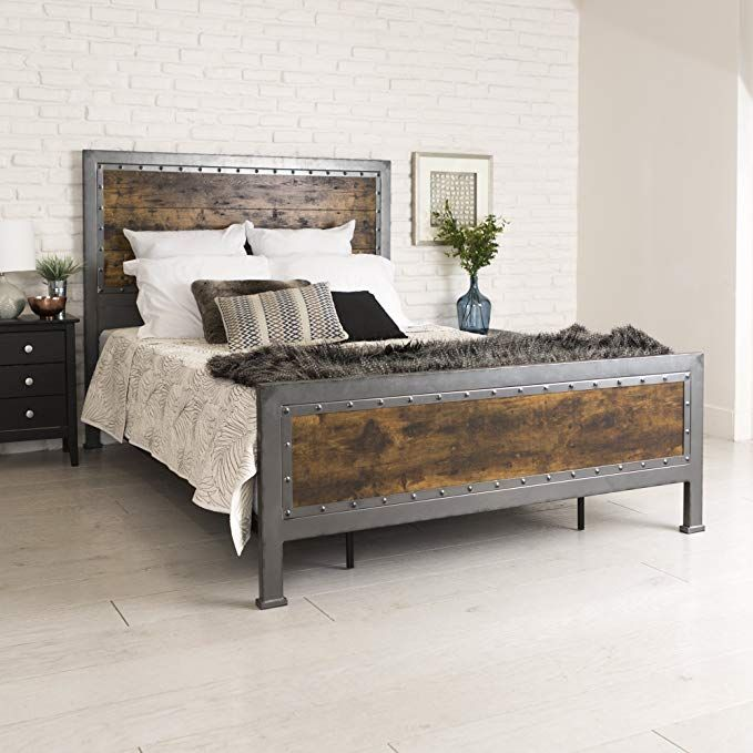 New Rustic Queen Industrial Wood And Metal Bed Includes Head And