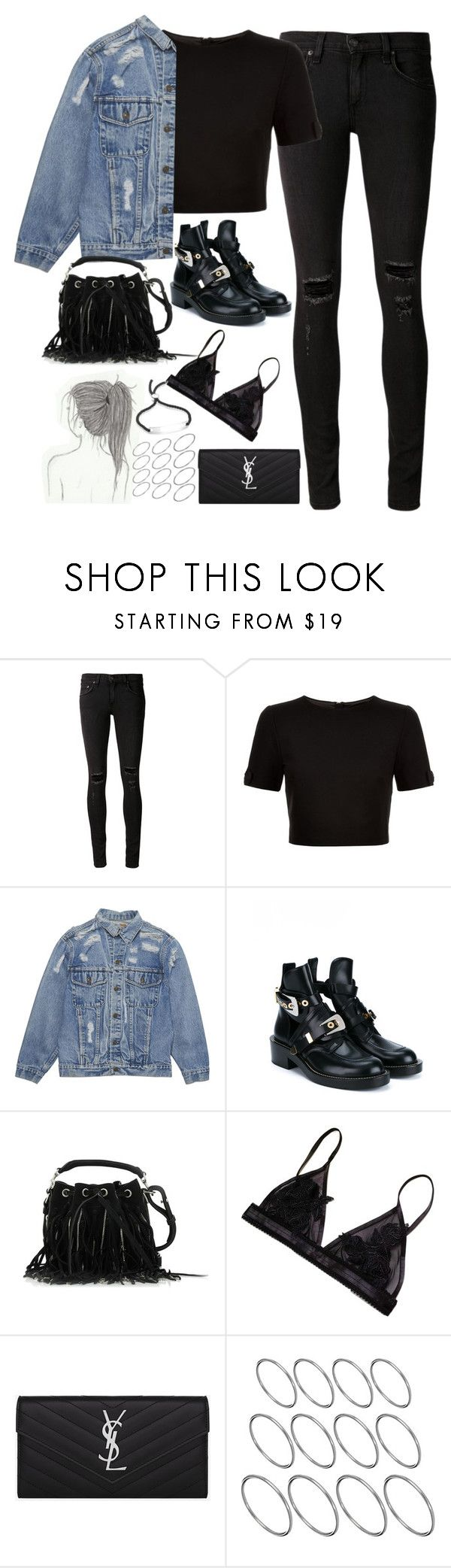 """""""Untitled#4628"""" by fashionnfacts ❤ liked on Polyvore featuring rag & bone/JEAN, Ted Baker, Balenciaga, Yves Saint Laurent, ASOS and Monica Vinader"""