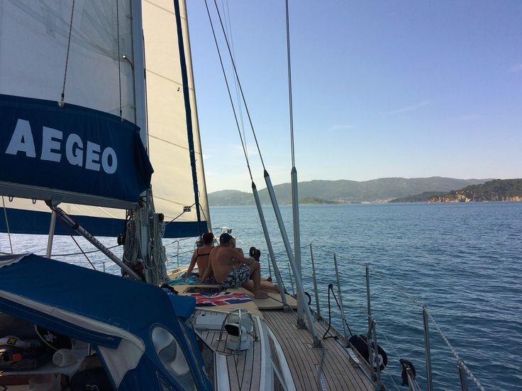 Sailing from Skopelos island to Skiathos island, and enjoying the views.