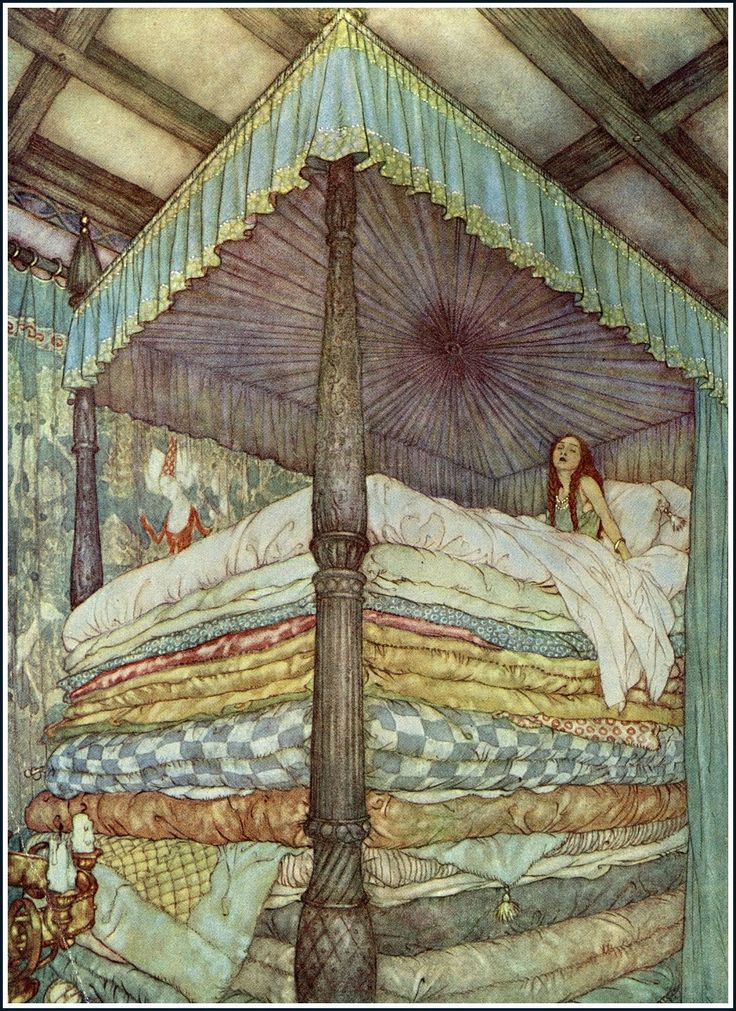 Princes and the pea Edmund Dulac. Print by OldDrawingsAndPhotos