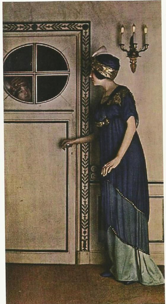 """Le modèle """"Strozzi"""" de Poiret  Ce modèle est fait de deux tuniques superposées, la tenue est accessoirisée par un turban oriental."""