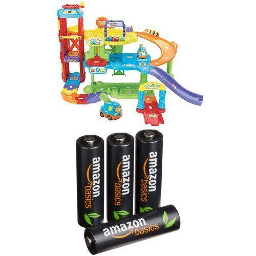 Maxi Garage Educatif Tut Tut Bolide + 4 Piles AmazonBasics AA Rechargeables