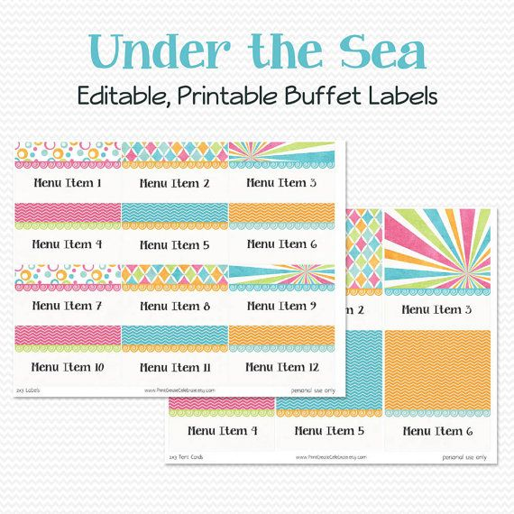 Buffet Labels and Place Cards Under the Sea Birthday Party or Baby Shower, Summer or Swim Party Decorations by PrintCreateCelebrate