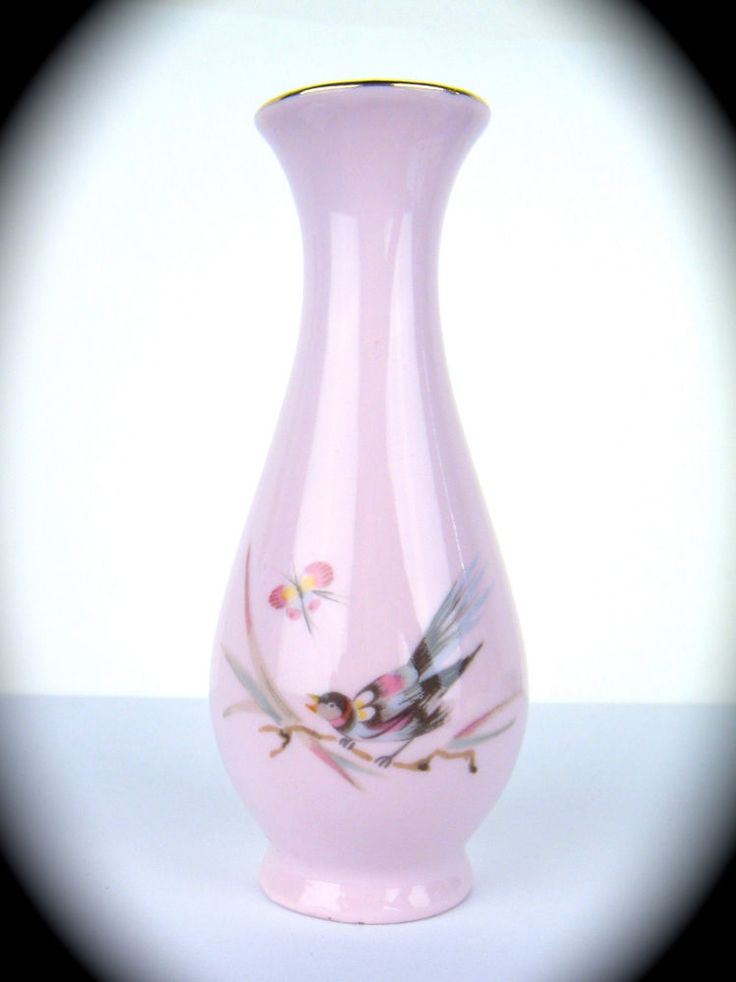 Antique Vintage Miniature Vase Pink Porcelain Czechoslovakia Bird Butterfly