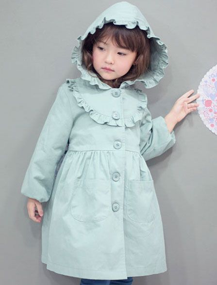 chichikaka チチカカ フードフリルバーバリー(ミント) - ポップでカラフル個性的な子供服