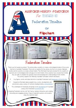 This activity allows students to create a chronological timeline of the events that led to Australias Federation. The events included begin with Henry Parkes oration at Tenterfield through to Federation celebrations in 1901. There are two options for this activity; the first is to create a flipchart timeline and the second is to create a foldable linear timeline (please see photographs in preview file).