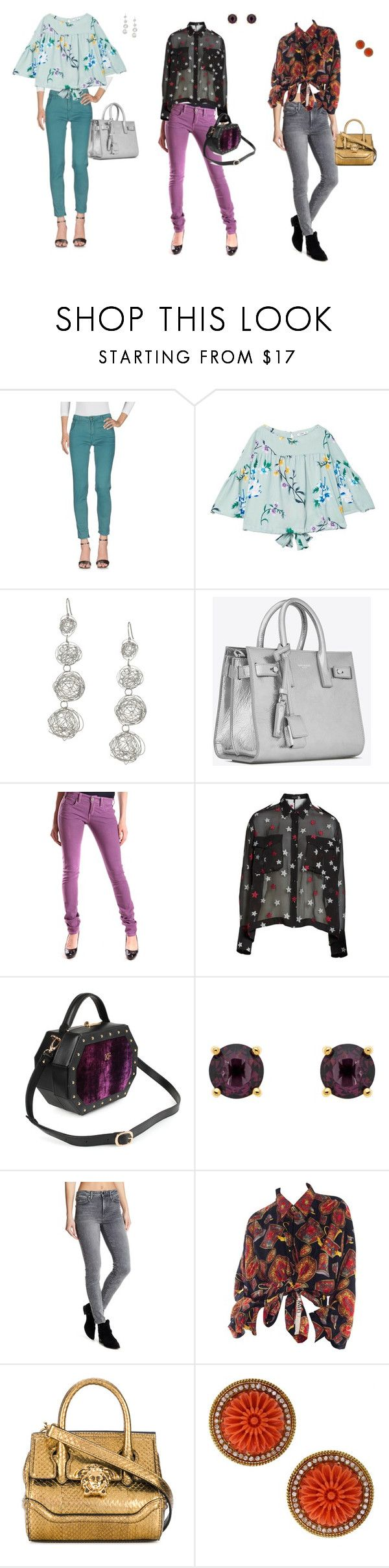 """Coffee With Friends"" by ladiminafashion on Polyvore featuring CYCLE, MANGO, Kenneth Jay Lane, Yves Saint Laurent, Pinko, rag & bone, Monet, Joe's Jeans and Versace"