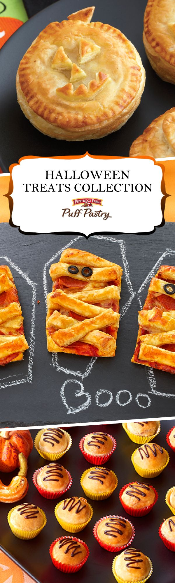 Pepperidge Farm Puff Pastry Halloween Treats Recipe Collection. Scare up some fun with these spook-tacular Halloween recipes. Party guests will have a frighteningly good time devouring Wicked Dessert Puffs, kids will love Mummy Pizzas before trick-or-treating and don't miss the recipe for Candy Bar Puffs (perfect for those leftover bags of candy!)