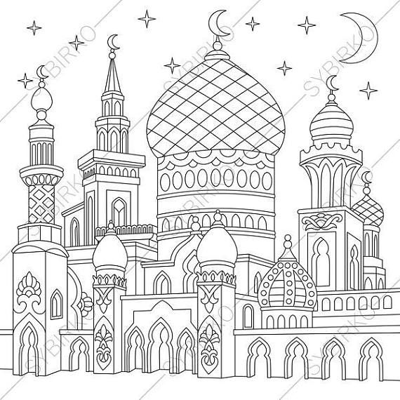 Coloring pages for adults. Turkish mosque. Arabic Islamic