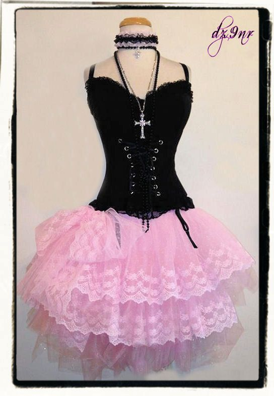 Pretty in Pink Adult Tulle n Lace Tutu Skirt w Corset Top Plus Size 1x 2x 3x 80s prom rockstar steam punk lolita gothic bridesmaid