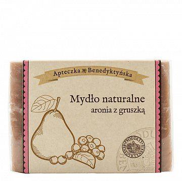 MYDŁO NATURALNE ARONIA Z GRUSZKĄ 130g - Produkty Benedyktyńskie    Mydło naturalne aronia z gruszką zostało wzbogacone o olejek ze słodkich migdałów i specjalny kompleks wyszczuplający. Gruszki to owoce, których właściwości i wa...