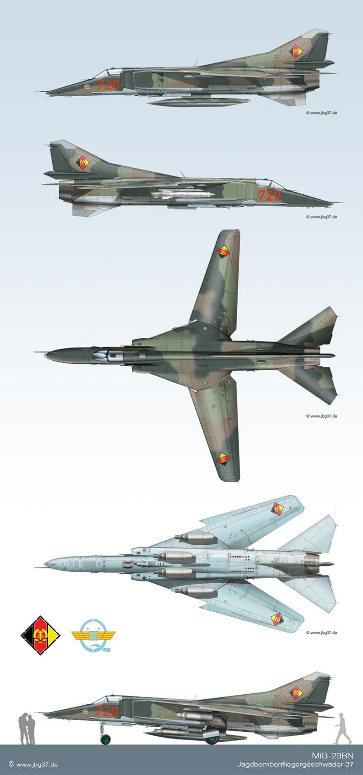 """Das Tarnschema der MiG-23BN im JBG-37 orientierte sich an dem in den """"Warschauer Vertrags Staaten"""" üblichen Schema. Dennoch gab es für Flugzeuge   des Geschwaders kein einheitliches Tarnschema. Jede einzelne Maschine hatte ein mehr oder weniger  """"individuelles Tarnschema"""".   Dies ergab sich daraus, das während der periodischen Kontrollen in der KRS Ausbesserungen, je nach Situation, frei ausgeführt wurden.  Auch gab es Unterschiede in den Chargen der verwendeten BUNA - Farben."""