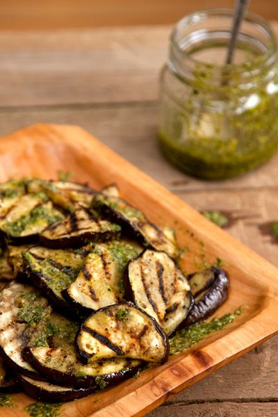 Grilled Eggplant with basil pesto