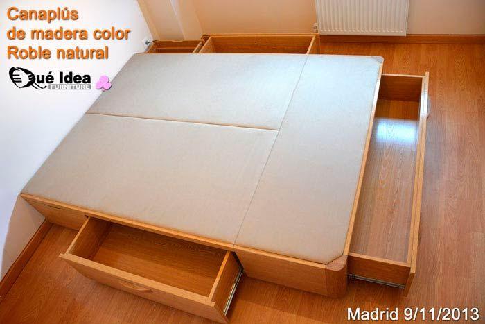 canapé cama con cajones de madera color roble