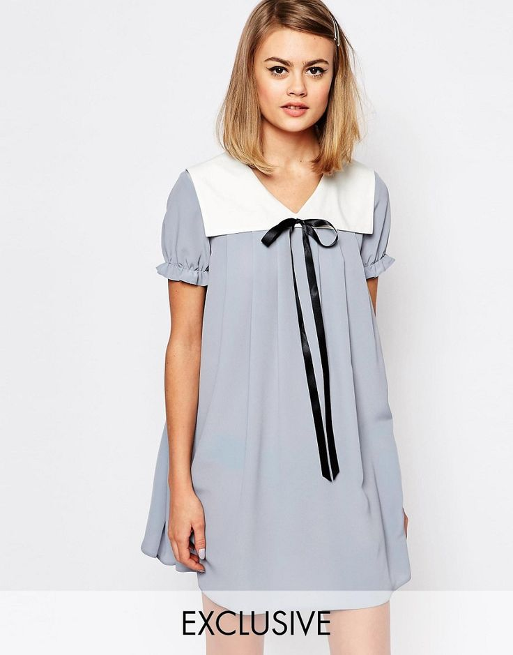 1960s Style  Babydoll Dress With Collar  Tie Detail - Blue $65.00 AT vintagedancer.com