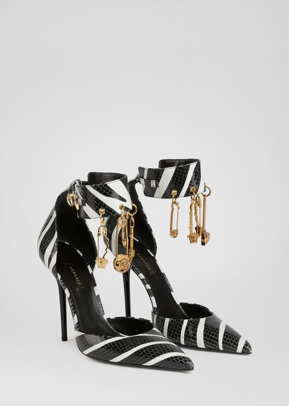 Versace Zebra Print Safety Pin Pumps In White | ModeSens