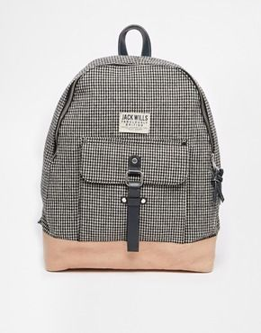 Jack Wills Backpack In Dogtooth Check with Leather Trim