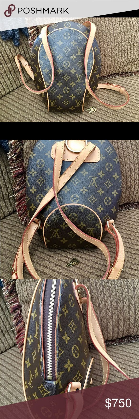 """Louis Vuitton Ellipse Sac A Dos Backpack 💕FIRM💕 This is an authentic Louis Vuitton Ellipse backpack. In very good condition. Clean inside and out as you can see from the photos. Minor wear on the shoulder straps. This bag was only carried a handful of times. Comes with lock and keys. Measures 12 1/2"""" x 9 1/2"""" wide by 5 inches deep. Shoulder straps are adjustable. Prices is firm. No trades please. Louis Vuitton Bags Backpacks"""