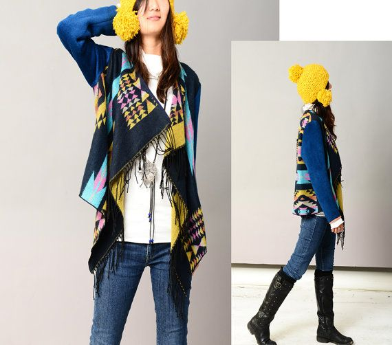 Kachina doll  cashmere shawl jacket P1206 by idea2lifestyle, $66.00