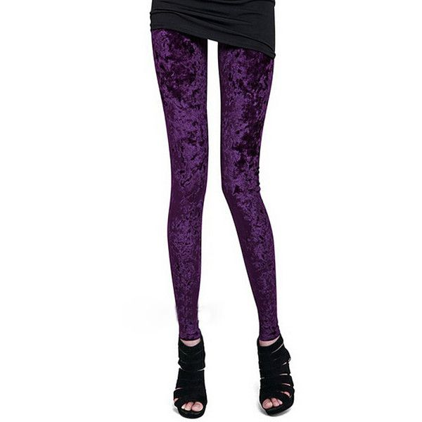 Womens Purple Stretch Crushed Velvet Leggings ($52) ❤ liked on Polyvore featuring pants, leggings, purple leggings, purple trousers, stretch leggings, stretchy pants and stretchy leggings