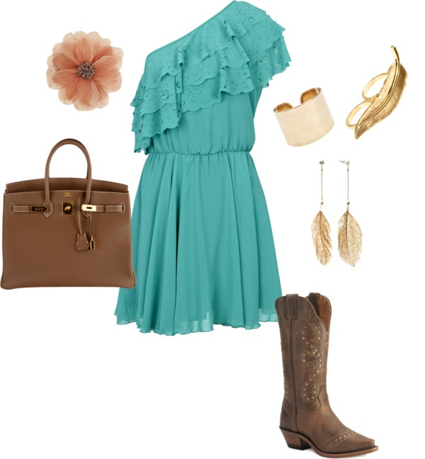 Cute summer outfit. Cowboy boots and a cotton dress. Can't ...