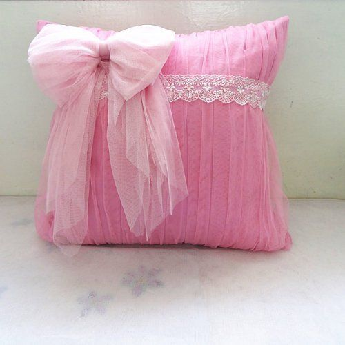 DIAIDI,1PC Princess Lace Pink Bowtie Throw Pillow Decorative Throw Pillow  Pretty Sofa Pillow Handmade