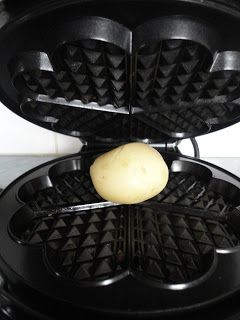 Healthy smart alternative to chips:  steam/boil a potato/yam, then press in a waffle iron for a hot crispy snack.