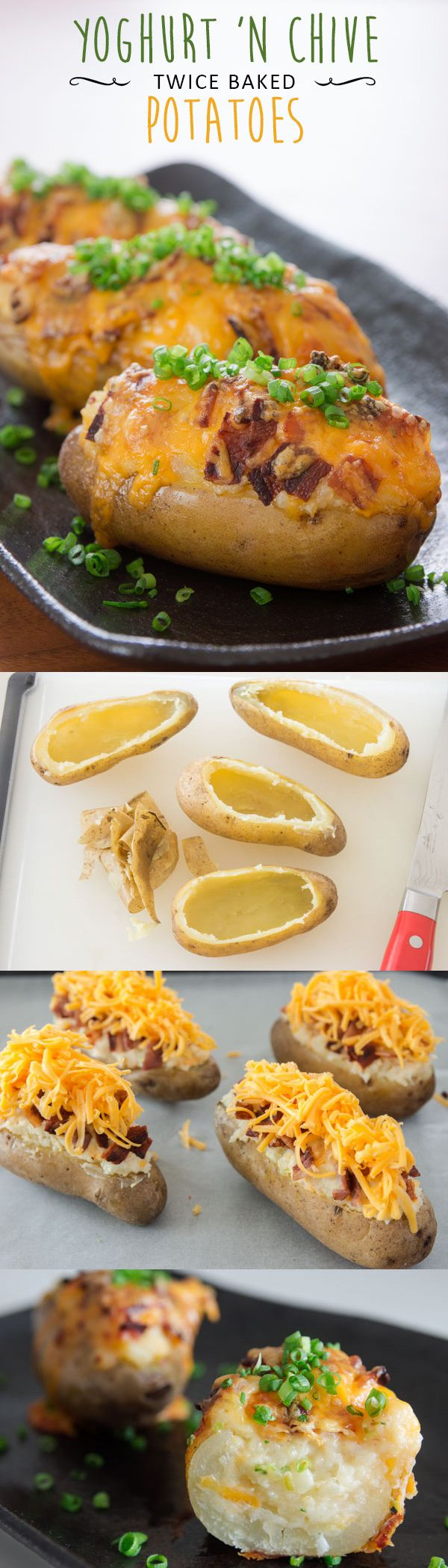 These twice baked potatoes taste like sour cream and chive potato chips with bacon and cheese. Creamy, savory and delicious!