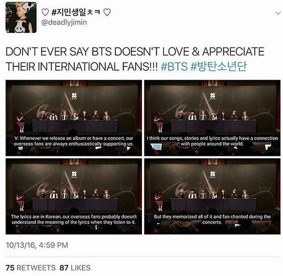 I KEPT ON HEARING SHIT ABOUT NON-KOREAN ARMYS AND THEM MAKING BTS UNCOMFORTABLE. I guess this shows the claims are wrong. I am non-Korean and I love BTS just as much as a Korean fan. I love BTS and I don't want anyone telling me being an army is wrong because of my race.