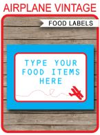 Airplane Birthday Party Food Labels template – biplane
