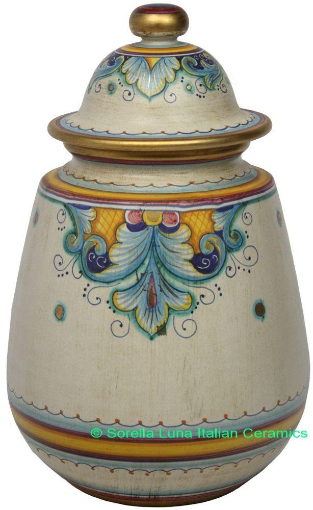 Hand Painted Ceramic Maiolica Jar Urn