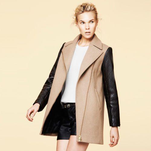 Club Monaco Carolyn Leather Sleeve Jacket