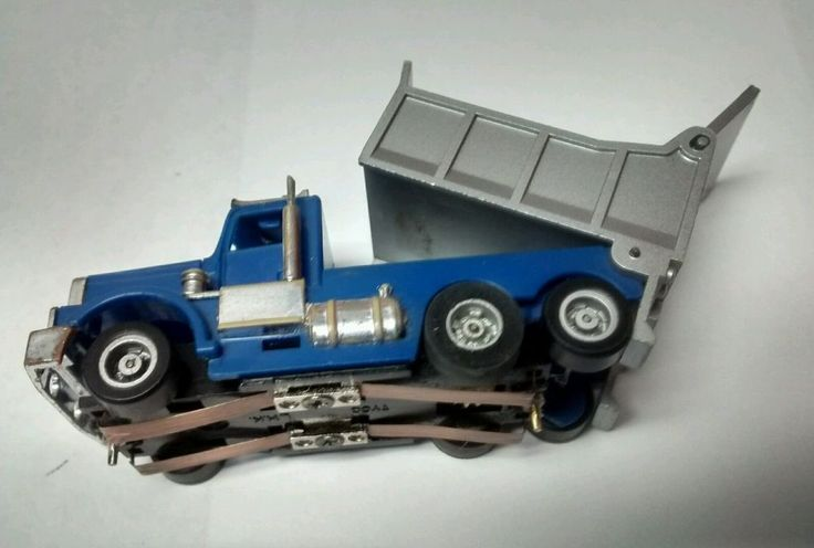 Tyco Us 1 Electric Trucking Original slot Blue/Silver Dump Truck tested runs  #Tyco