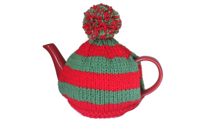 Elf Tea Cosy Hand knitted Christmas Xmas Novelty Stripe Red Green Vintage Style…