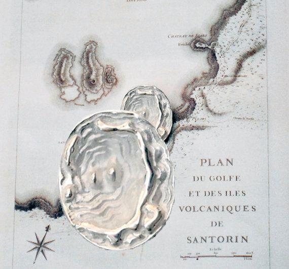 Santorini Map Unisex Sterling Silver Necklace by GreekMythos