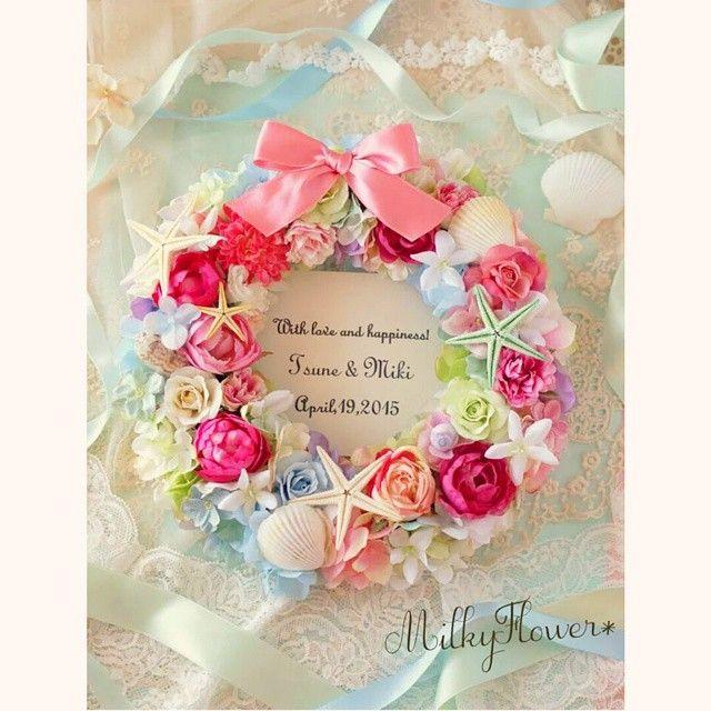 リトルマーメイドアリエルのリース♪ * * * #リース#ウェルカムリース#ウェルカムボード#ウェディング#ウェルカムスペース#wreath#wreathe#welcome#wedding #milkyflower#結婚#結婚式#結婚式準備#プレ花嫁#花嫁#リトルマーメイド#アリエル#Disney#アーティフィシャルフラワー#貝殻#貝#海#sea#pink#flowerwreath#フラワー#フラワーリース #披露宴