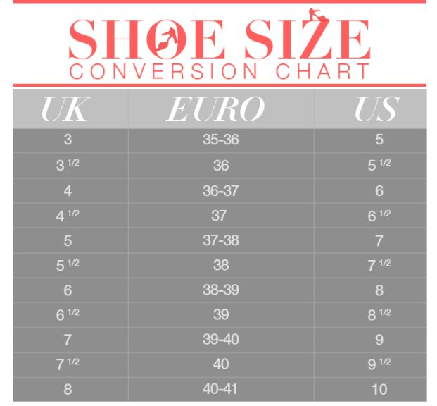 Shoe Size Conversion Chart | StyleCaster