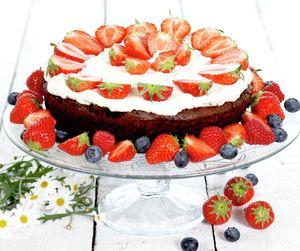 En mektig og fantastisk god kake som rekker til mange. Med sjokolade, jordbær og krem er dette en skikkelig festkake.