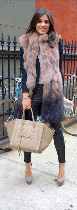 Sand Celine handbag, leather pants, pumps and hopefully the vest is faux fur. Love it.