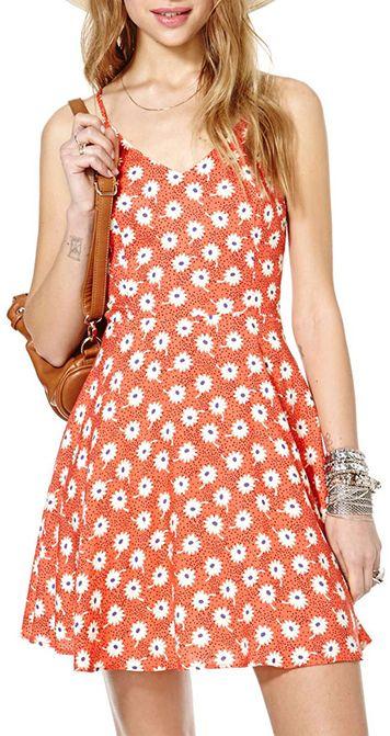 V-neck Daisy Print Sleeveless Dress