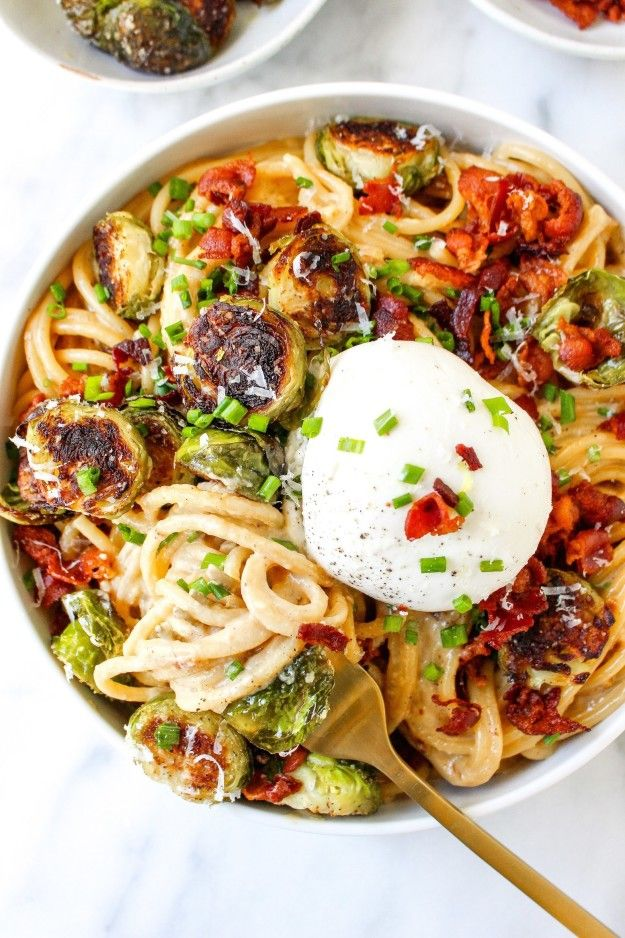 Caramelized Onion Carbonara With Brussels Sprouts and Burrata | 28 ...