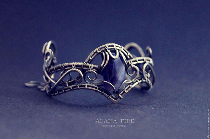 Купить Браслет из нейзильбера и аметиста - серебряный, браслет, wire wrap, купить украшение, украшение на руку