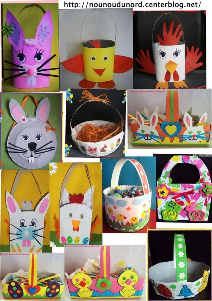 tous les paniers de Pâques réalisés par les enfants chez nounoudunord depuis plusieurs années, les explications dans ma rubrique de pâques.