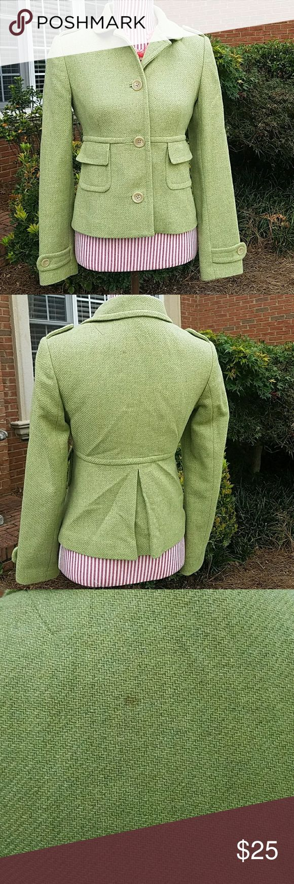 Banana Republic Wool Blazer Coat Fabulous wool coat in a pretty mint green. Fully lined. Excellent condition. Bust: 16.5, Length: 21 inches. 80% Wool, 15% Nylon, 5% Other Fibers. Add to bundle to save! Banana Republic Jackets & Coats Blazers